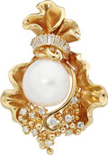 Estate Jewelry:Pendants and Lockets, South Sea Cultured Pearl, Diamond, Gold Enhancer-Pendant. ...
