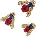 Estate Jewelry:Brooches - Pins, Ruby, Sapphire, Diamond, Gold Brooches, Van Cleef & Arpels. ... (Total: 3 Items)