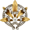 Estate Jewelry:Brooches - Pins, Victorian Diamond, Gold, Silver-Topped Gold Brooch, French. ...
