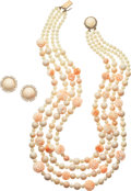 Estate Jewelry:Suites, Coral, Diamond, Gold Jewelry Suite. ... (Total: 2 Items)
