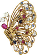 Estate Jewelry:Brooches - Pins, Diamond, Ruby, Sapphire, Gold Brooch, Laykin et Cie. ...