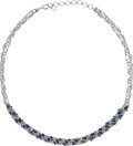 Estate Jewelry:Necklaces, Sapphire, White Gold Necklace . ...
