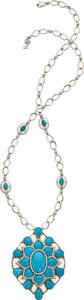 Estate Jewelry:Necklaces, Turquoise, Diamond, Rock Crystal Quartz, White Gold Necklace. ...