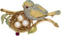 Estate Jewelry:Brooches - Pins, Diamond, Ruby, Cultured Pearl, Enamel, Gold Brooch. ...