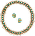 Estate Jewelry:Suites, Turquoise, Cultured Pearl, Gold Jewelry. ... (Total: 2 Items)