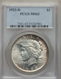 Peace Dollars: , 1923-D $1 MS63 PCGS. PCGS Population: (1853/2129). NGC Census:(1132/1296). CDN: $145 Whsle. Bid for problem-free NGC/PCGS ...