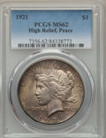 Peace Dollars, 1921 $1 High Relief MS62 PCGS. PCGS Population: (2526/10411). NGCCensus: (2329/8077). Mintage 1,006,473....