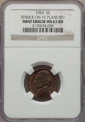 1963 5C Jefferson Nickel -- Struck on Cent Planchet -- MS63 Brown NGC