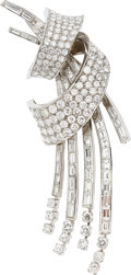 Estate Jewelry:Brooches - Pins, Diamond, Platinum, White Gold Brooch, French. ...