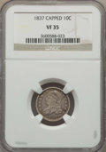 Bust Dimes: , 1837 10C VF35 NGC. NGC Census: (6/126). PCGS Population: (15/179).Mintage 359,500. ...
