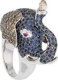 Estate Jewelry:Rings, Diamond, Sapphire, Ruby, White Gold Ring . ...