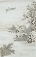 Asian:Chinese, A Chinese Enameled Porcelain Winter Landscape Plaque by He Xuren,Republic Period, circa 1912-1949. Marks: Three artist's se...