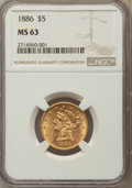 Liberty Half Eagles: , 1886 $5 MS63 NGC. NGC Census: (74/19). PCGS Population: (64/20). CDN: $575 Whsle. Bid for problem-free NGC/PCGS MS63. Minta...