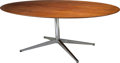 Furniture , A Florence Knoll Modern Teak and Chrome Dining Table, designed 1961, circa 1973. 28-1/8 h x 77 w x 48 d inches (71.4 x 195.6...