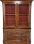 Furniture : American, An American Renaissance Revival Carved Walnut Bookcase, late 19thcentury. 88-1/2 h x 66 w x 23 d inches (224.8 x 167.6 x 58...(Total: 2 Items)