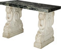 Furniture : Continental, An Italian Carved Carrara Marble Salon Table, 19th century andlater top. 27-1/8 h x 39-1/4 w x 20-1/2 d inches (68.9 x 99.7...(Total: 3 Items)