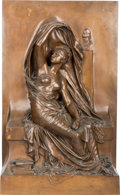 Decorative Arts, French:Other , A French Patinated Bronze Plaque after Henri Michel Antoine Chapu:La Pensée, late 19th-early 20th century. Marks: ...