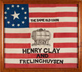 Political:Textile Display (1896-present), Clay & Frelinghuysen: A Magnificent 1844 Campaign Flag Banner....