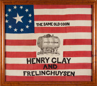 Clay & Frelinghuysen: A Magnificent 1844 Campaign Flag Banner