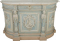 Furniture : Continental, A Louis XVI-Style Carved and Gris Peinte Wood Console Cabinet withCarrara Marble Top, 19th century. 35-3/4 h x 58 w x 20 d ...(Total: 2 Items)