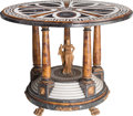 Furniture : Continental, A Neoclassical-Style Marble Inlaid Center Table . 34 inches high x45 inches diameter (86.4 x 114.3 cm). ...
