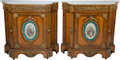 Furniture : French, A Pair of Napoleon III Inlaid and Porcelain-Mounted ConsoleCabinets with Carrara Marble Tops, late 19th century. 45-3/4 h x...(Total: 4 Items)