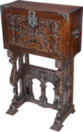 Furniture : Continental, A Renaissance Revival-Style Carved Oak Vargueno Desk on Stand. 56-3/4 h x 35-1/2 w x 16-1/2 d inches (144.1 x 90.2 x 41.9 cm... (Total: 2 Items)