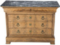Furniture : French, A Louis Philippe French Mahogany and Black Marble Chest with HiddenDrawer, 19th century and later. 37-1/4 h x 50-1/4 w x 22...