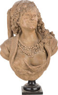 Sculpture, Albert-Ernest Carrier-Belleuse (French, 1824-1887). Bust of a Woman. Terracotta. 26-1/2 inches (67.3 cm) high. Inscribe...