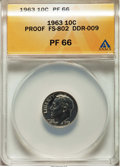 Proof Roosevelt Dimes, 1963 10C Doubled Die Reverse, FS-802, PR66 ANACS. (DDR-009). NGCCensus: (6/103). PCGS Population: (16/17). ...