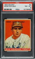 Baseball Cards:Singles (1930-1939), 1933 Goudey Heinie Schuble #4 PSA NM-MT 8 - None Higher....