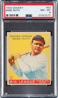 1933 Goudey Babe Ruth #53 PSA NM-MT 8 - Only One Higher