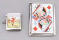 Silver Smalls:Cigarette Cases, An English Silver and Enameled Match Safe and Cigarette Case withPlaying Card and Golf Motifs, 1881-1908. Marks: (various)...(Total: 2 Items)