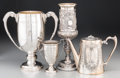 Silver Holloware, Continental:Holloware, Three Silver and Silver-Plated Presentation Trophies and CoffeePot, circa 1900 and later. Marks: (various). 14 inches high ...(Total: 4 Items)