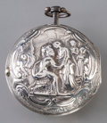 Decorative Arts, Continental:Other , A Dutch Silver-Cased Verge Pocket Watch with Balloon Motif to Dial,late 18th century. Marks to movement: Jan Van Der Swel...