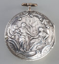 Clocks & Mechanical:Other, A Dutch Silver-Cased Verge Pocket Watch with Balloon Motif to Dial, late 18th century. Marks to interior case: (lion passant...