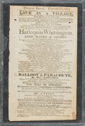 Decorative Arts, British:Other , Two English Playbills: Isabella, Or the Fatal Marriage andLove in a Village of Parachuting and Firewo... (Total: 2Items)