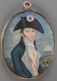 A Rare Miniature Watercolor Portrait of Parachutist André-Jacques Garnerin, late 18th century 2-5/8 inches high x...