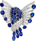 Estate Jewelry:Brooches - Pins, Kashmir Sapphire, Sapphire, Diamond, Platinum, White Gold Brooch. ...