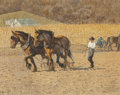 Fine Art - Painting, American:Modern  (1900 1949)  , John Philip Falter (American, 1910-1982). Teamwork (Amish Boyand Horses), 1948. Oil on panel. 10-1/2 x 14 inches (26.7 ...