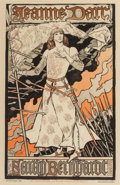 Fine Art - Work on Paper:Print, Jeanne d'Arc, Sarah Bernhardt Lithograph by Eugene Grasset. 12-1/2x 7-3/4 inches (31.8 x 19.7 cm) (image). ...