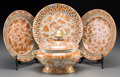 Asian:China Trade, Three Chinese Export Reticulated Porcelain Plates with DiminutiveTureen, Qing Dynasty, late 19th century. 8 inches diameter...(Total: 4 Items)