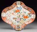 Asian:Japanese, A Japanese Kutani Porcelain Quatrefoil Dish and Cup. Marks: Seal tounderside of the cup; seven-character mark to the dish. ... (Total:2 Items)