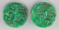 Asian:Chinese, A Pair of Chinese Carved Jadeite Pendants. 2-1/8 inches diameter(5.4 cm). ... (Total: 2 Items)