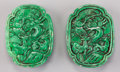 Asian:Chinese, A Pair of Chinese Carved Jadeite Pendants. 2-1/8 inches high (5.4cm). ... (Total: 2 Items)