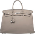 Luxury Accessories:Bags, Hermes 40cm Gris Tourterelle Clemence Leather Birkin Bag withPalladium Hardware. M Square, 2009. Good to Very GoodCo...