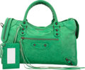 """Luxury Accessories:Bags, Balenciaga Vert Poker Green Distressed Lambskin Leather ClassicCity Bag. Very Good Condition. 15"""" Width x 9.5"""" Height x5..."""