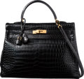 "Luxury Accessories:Bags, Hermes 35cm Matte Black Porosus Crocodile Retourne Kelly Bag withGold Hardware. C Square, 1999. Very Good Condition. 14"" ..."