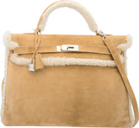 Hermes Limited Edition 40cm Alezan Veau Doblis Suede & Mouton Shearling Kelly Bag with Palladium Hardware P Squ