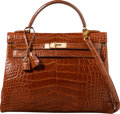 Luxury Accessories:Bags, Hermes 32cm Shiny Etrusque Alligator Retourne Kelly Bag with GoldHardware. U Circle, 1991. Very Good Condition.1...